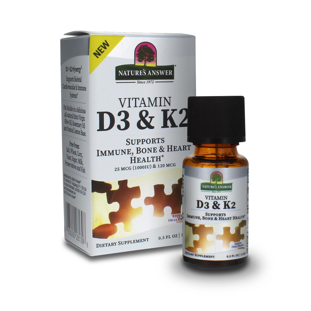 Vitamin D3 and K2 liquid